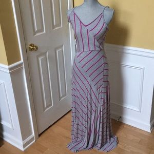 Calvin Klein Pink and Gray Maxi Dress
